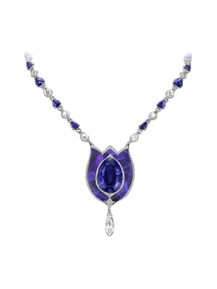 Boghossian 41.75ct sapphire inlaid into opal necklace