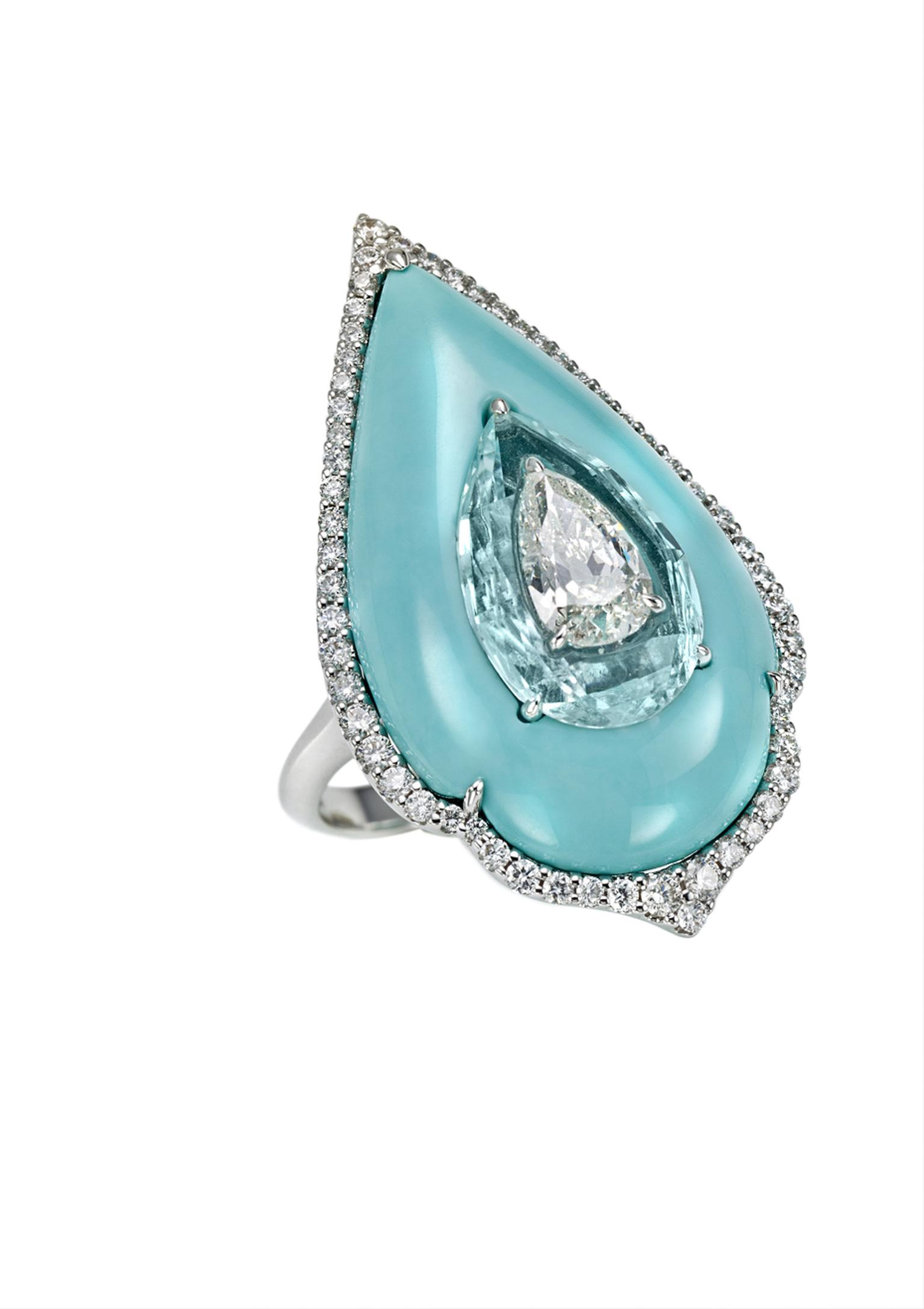 Boghossian diamond inlaid into Paraiba tourmaline, inlaid into turquoise ring