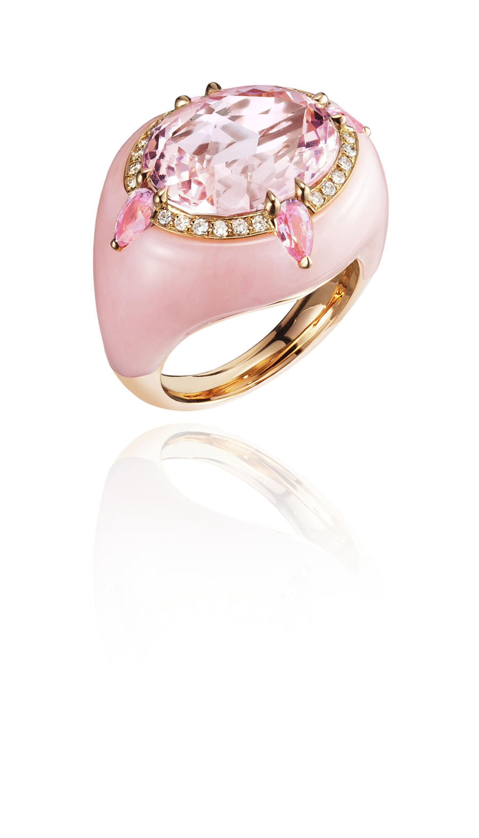 Boghossian pink morganite inlaid into pink morganite ring