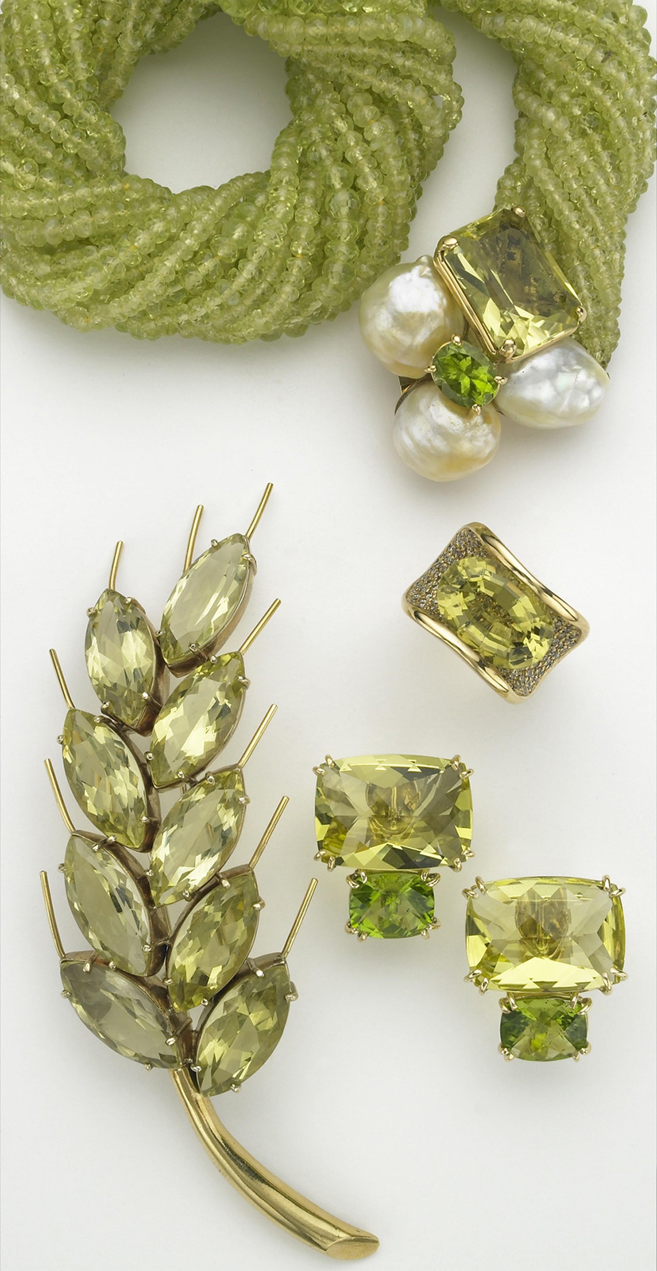 Sorab & Roshi faceted chrysoberyl bead necklace with a bubble clasp of South Sea pearls, lemon citrine and peridot; Jubilee ring with lemon citrine and pavé champagne diamonds; rectangular cushion earrings with lemon citrine and peridot; Wheat pin with fa