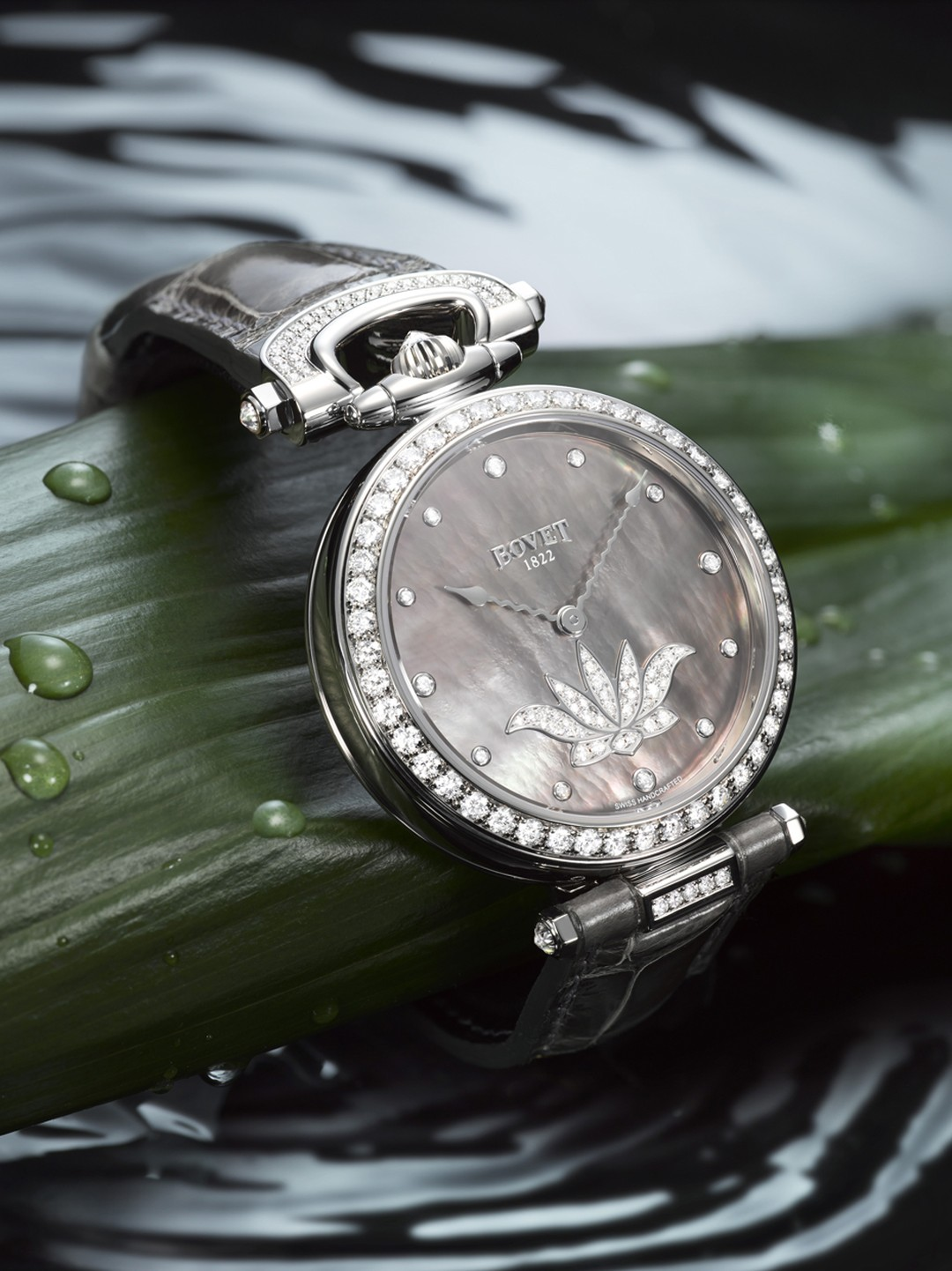 Bovet's 2013 Amadeo® Fleurier 39 Lotus features a mother-of-pearl dial encircled by a diamond-set bezel