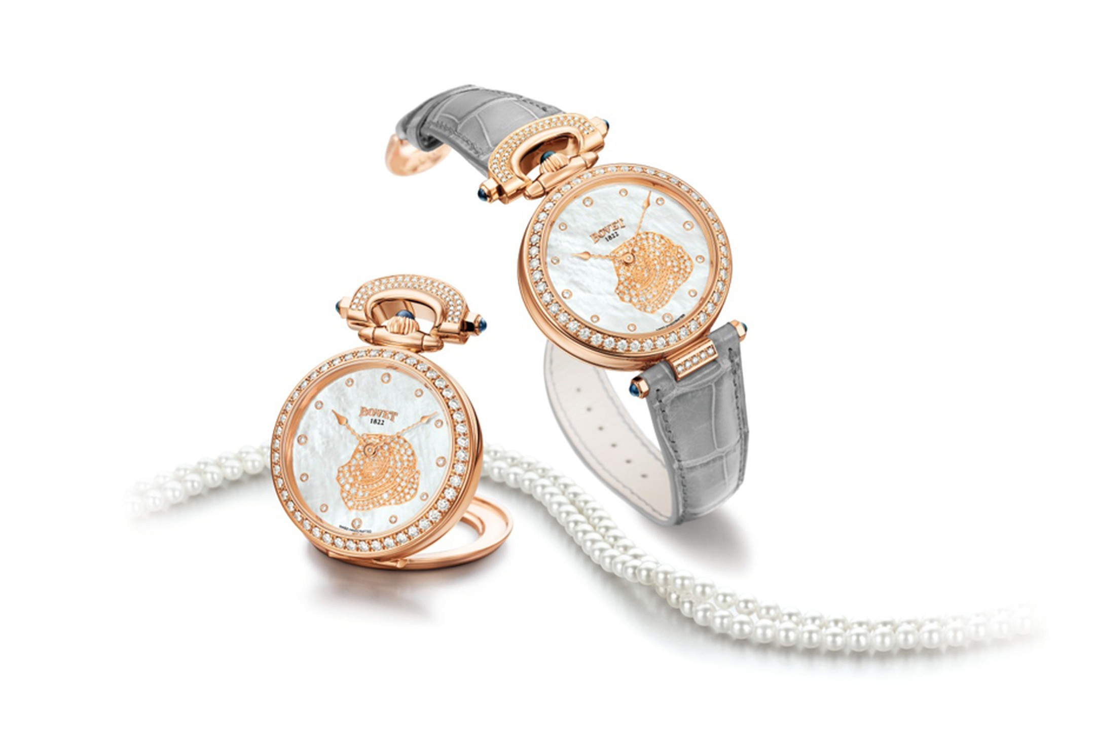 Bovet's Amadeo® Fleurier 39 Rose from the 2013 collection features a mother-of-pearl dial and pearl necklace