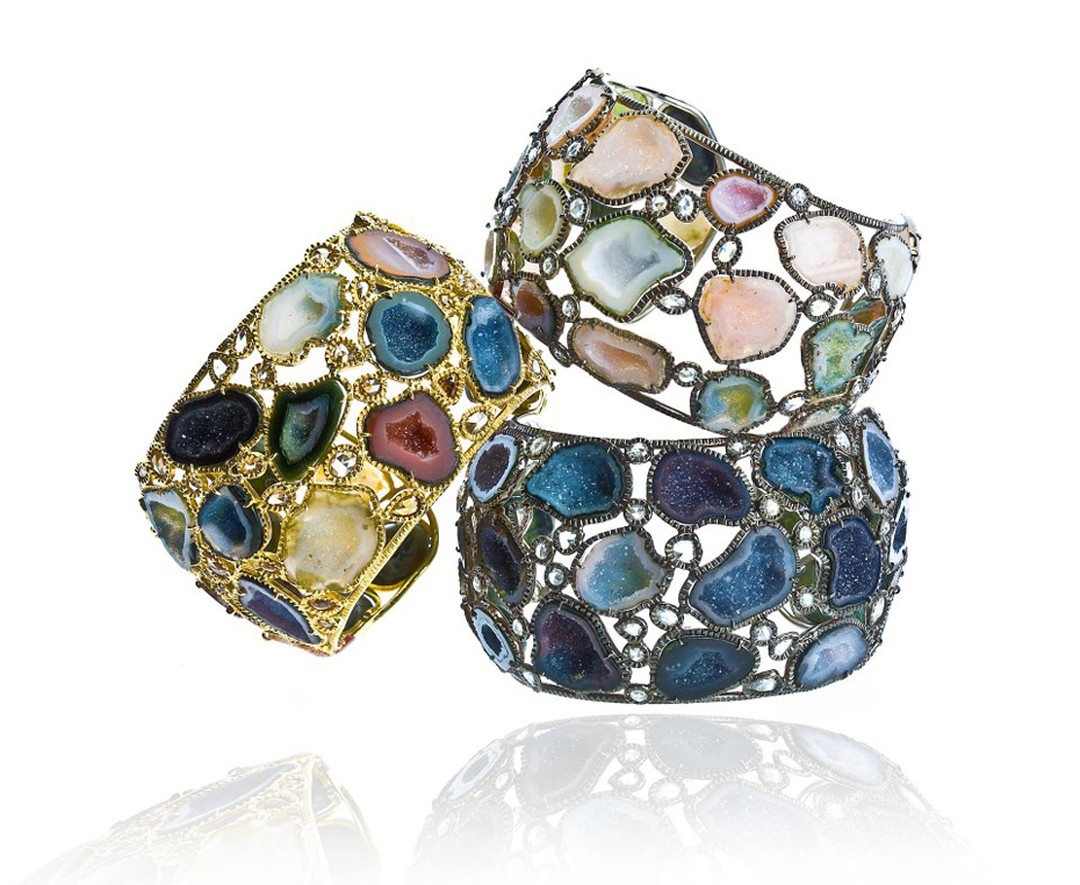 Kimberly McDonald geode and diamond cuffs in gold.