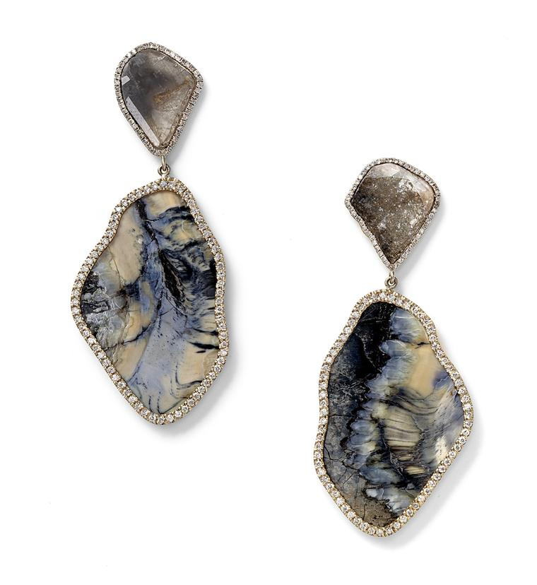 Monique Péan earrings featuring cream fossilized walrus ivory, striped agate, black Guatemalan jade and white diamonds.