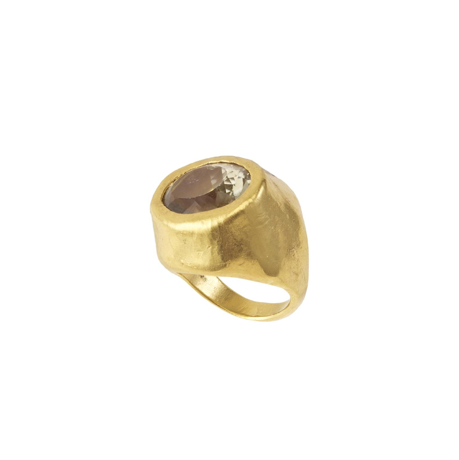 Pippa Small Tibetan ring featuring a topaz (15ct) surrounded by brushed gold.