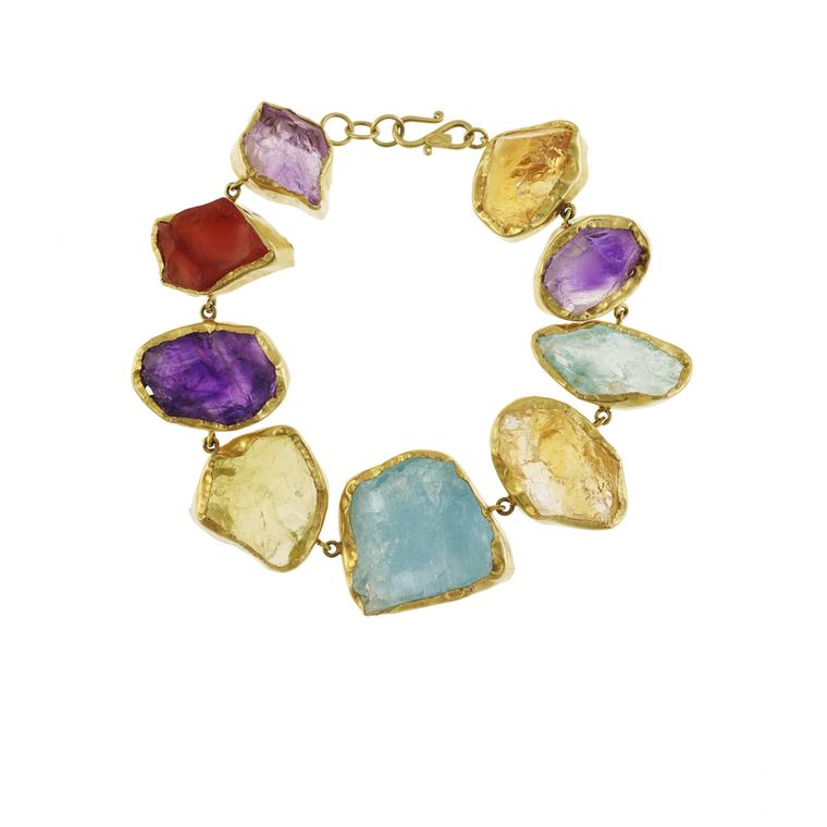Pippa Small bracelet featuring mixed uncut stones in yellow gold (£5,000).