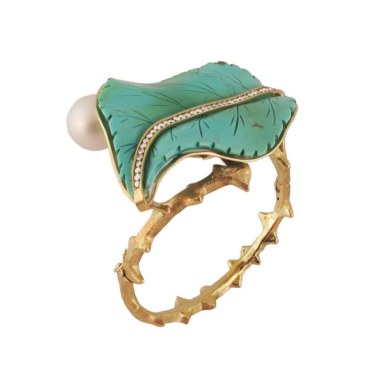 Silvia Furmanovich pearl, diamond and turquoise leaf cuff set in gold.