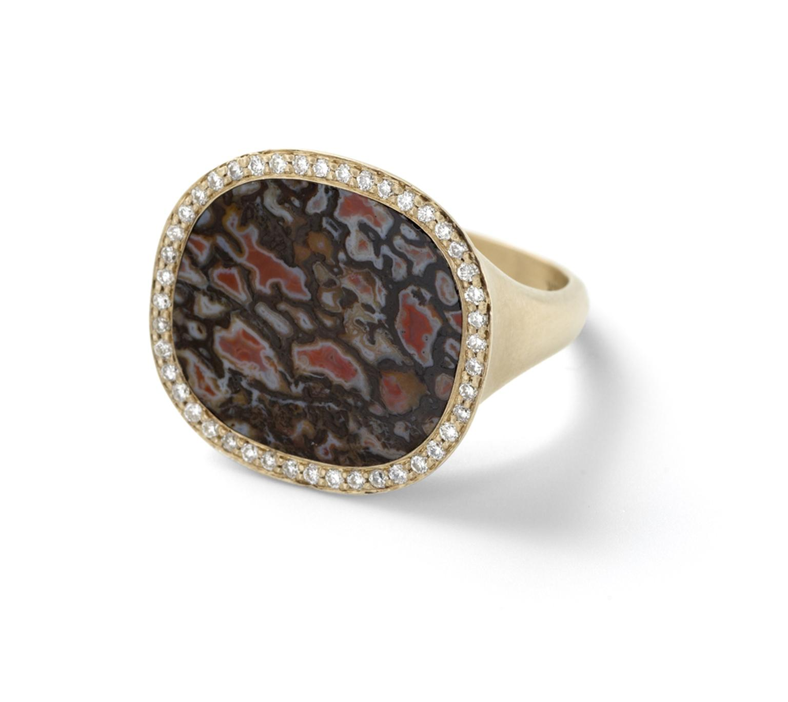 Monique Péan fossilized dinosaur bone ring in recycled yellow gold with diamond pavé.