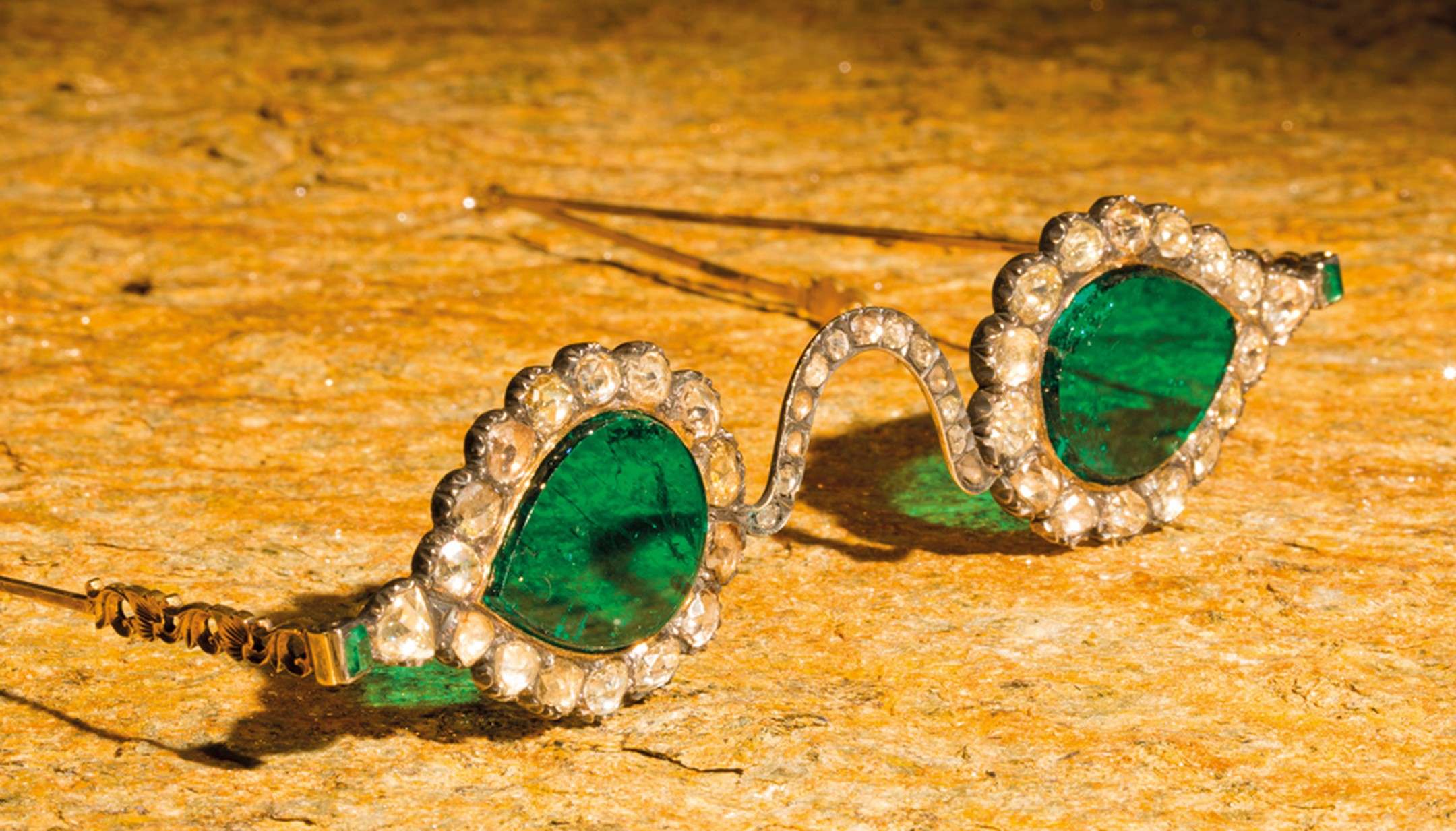 Late 19th century spectacles, known as Astaneh-ye-ferdaws (Gate of Paradise) featuring gems of Indian Mughal dominions, gold, silver, diamonds and emeralds.
