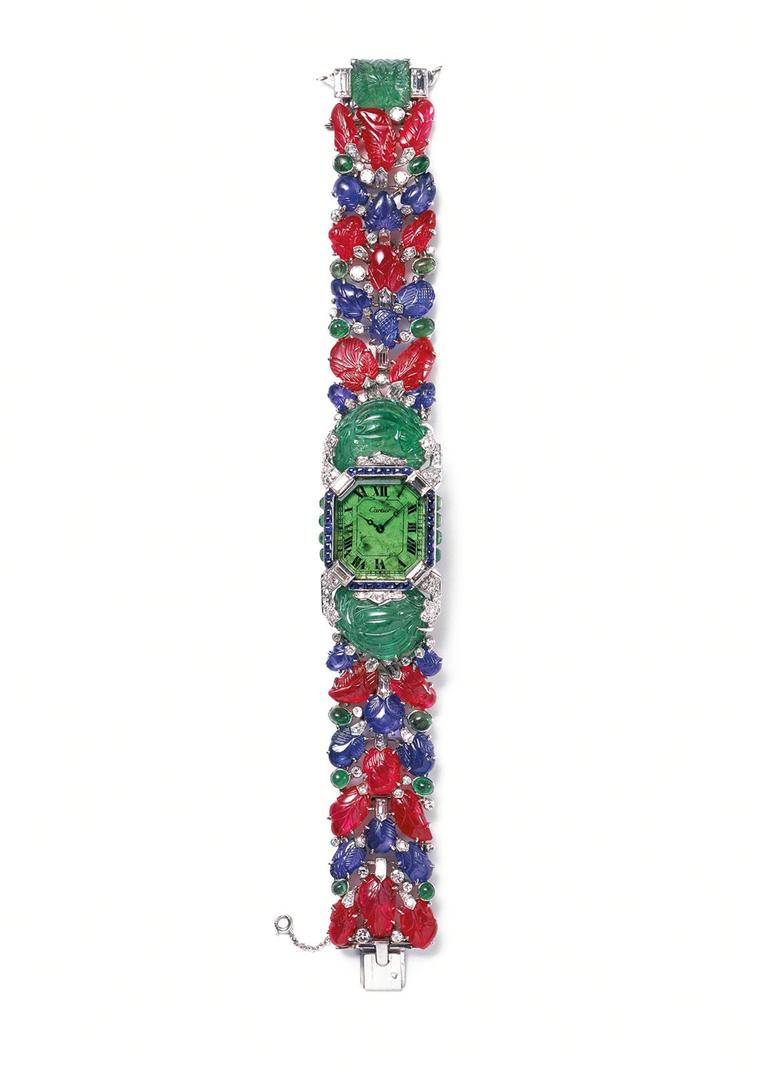 Cartier Tutti Frutti platinum bracelet watch from 1929 set with diamonds, emeralds, sapphires and rubies