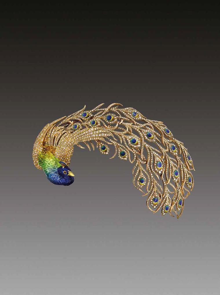 Mellerio dits Meller Peacock brooch daring from 1905 featuring diamonds and enamelling