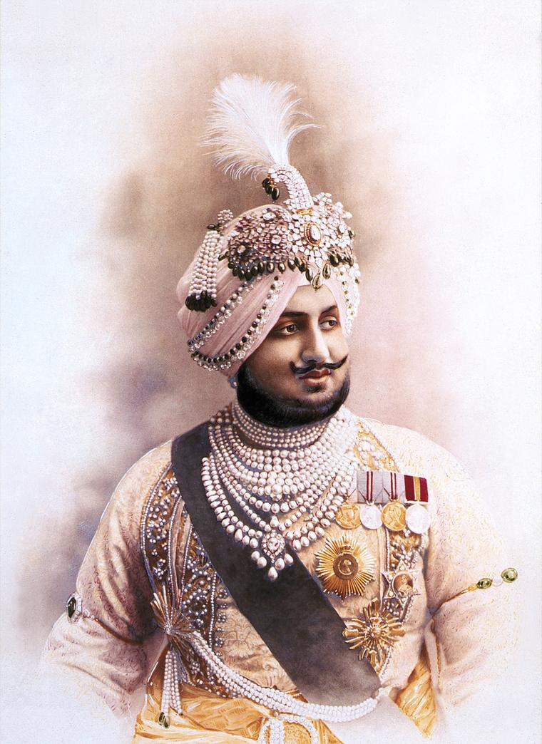 A modern print based on the 1911 painting of Maharaja Bhupinder Singh of Patiala.