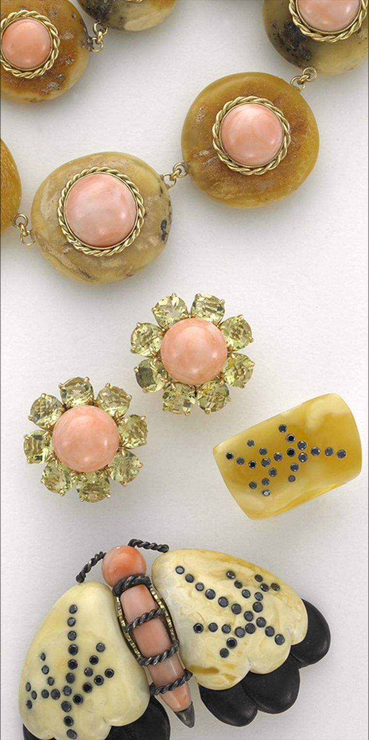Sorab & Roshi butterscotch amber and pink coral Donut necklace in gold, Daisy flower earrings with lemon citrine & pink coral, butterscotch amber ring with black diamonds and butterscotch amber Moth pin with ebony wood, pink coral and black diamonds