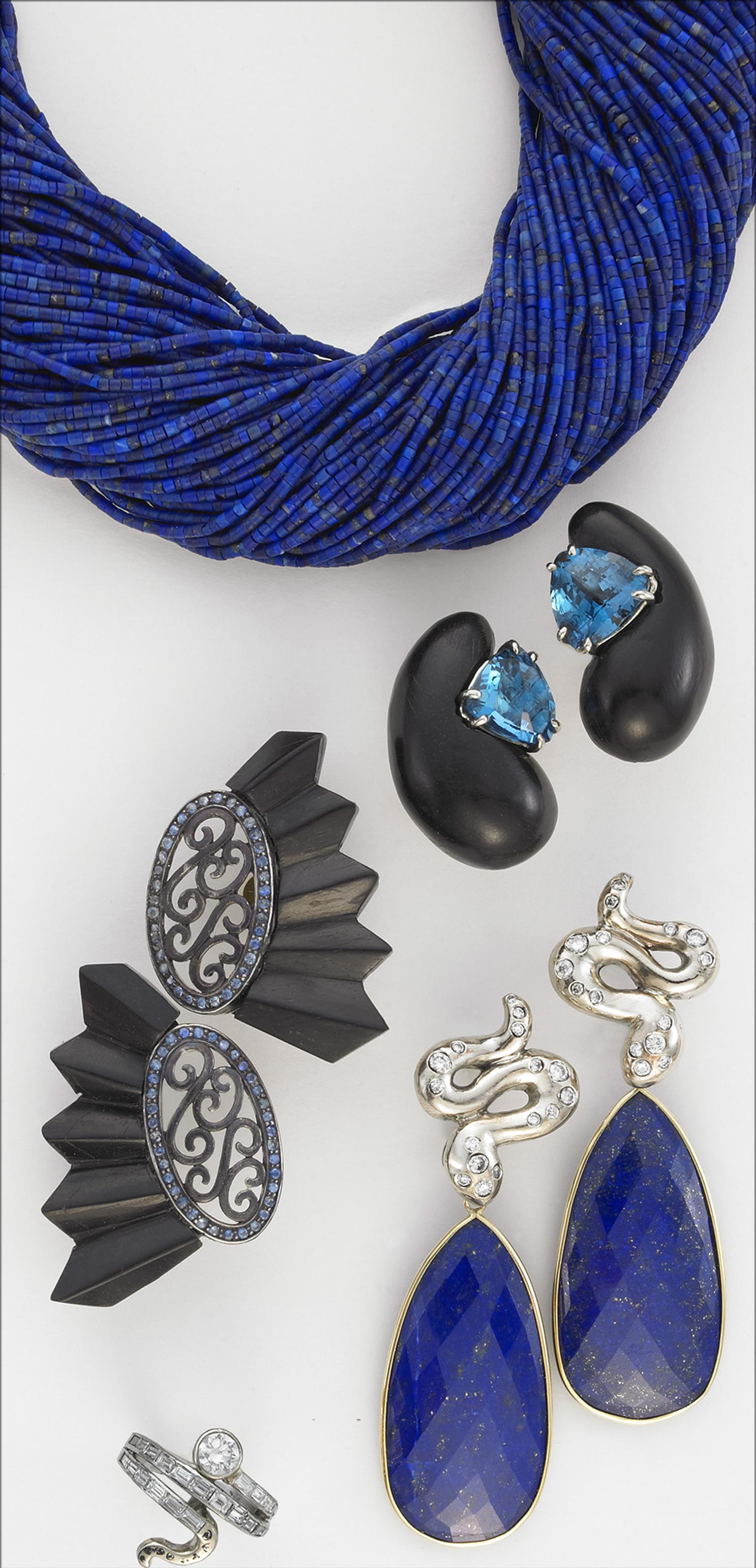 Sorab & Roshi lapis bead necklace, ebony wood Cashew earrings with blue topaz, ebony wood Fan earrings with sapphires, diamond spotted Snake earrings with lapis drops and diamond Snake pinky ring