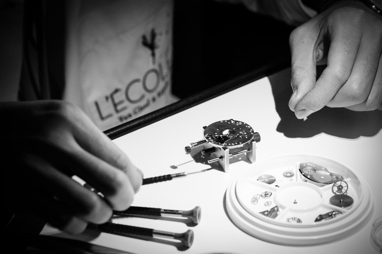 The watchmaking workshop at L'École Van Cleef & Arpels enables students to learn the intricacies of a mechanical watch
