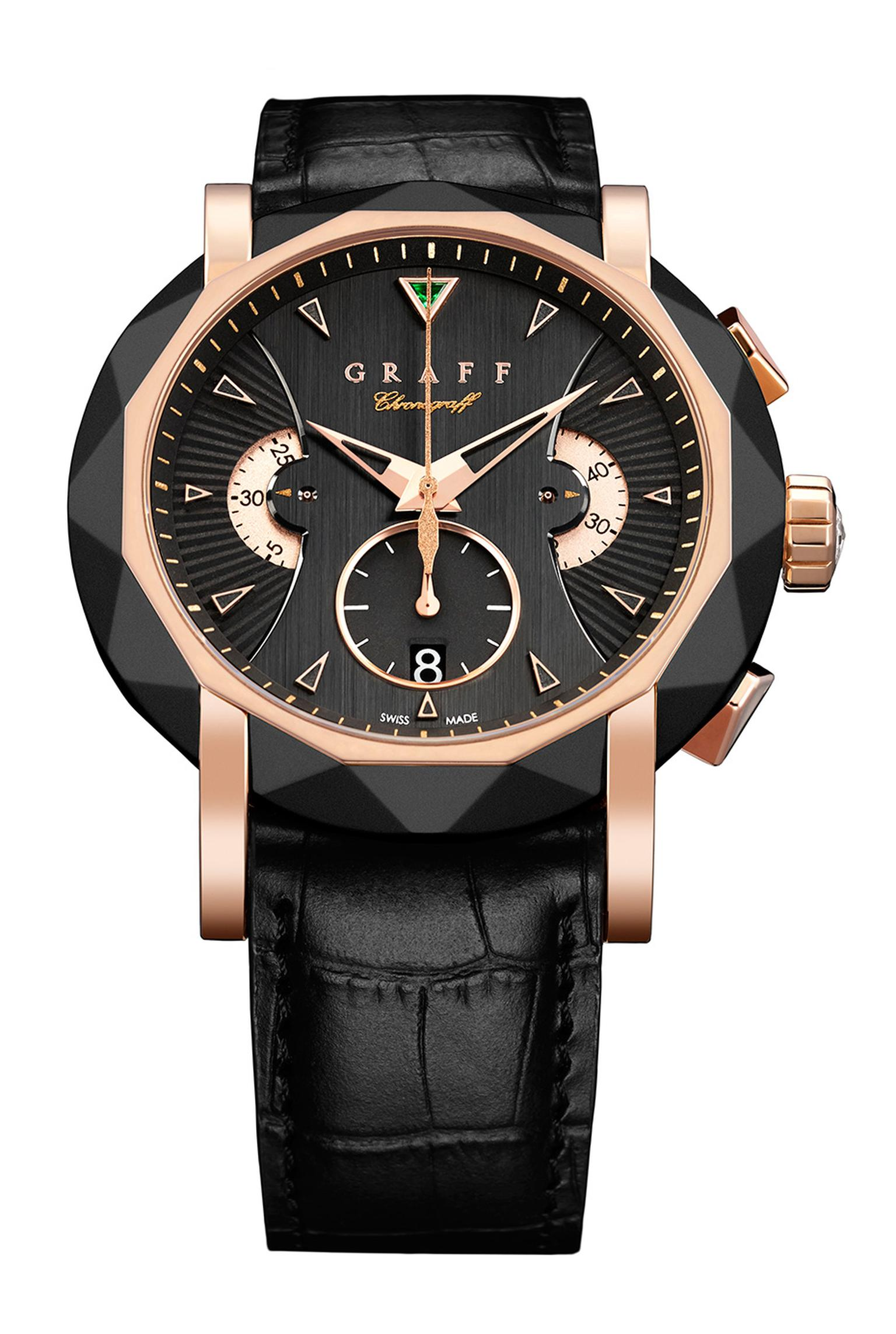 Graff 45mm rose gold Grand Date watch featuring a black guilloché dial.