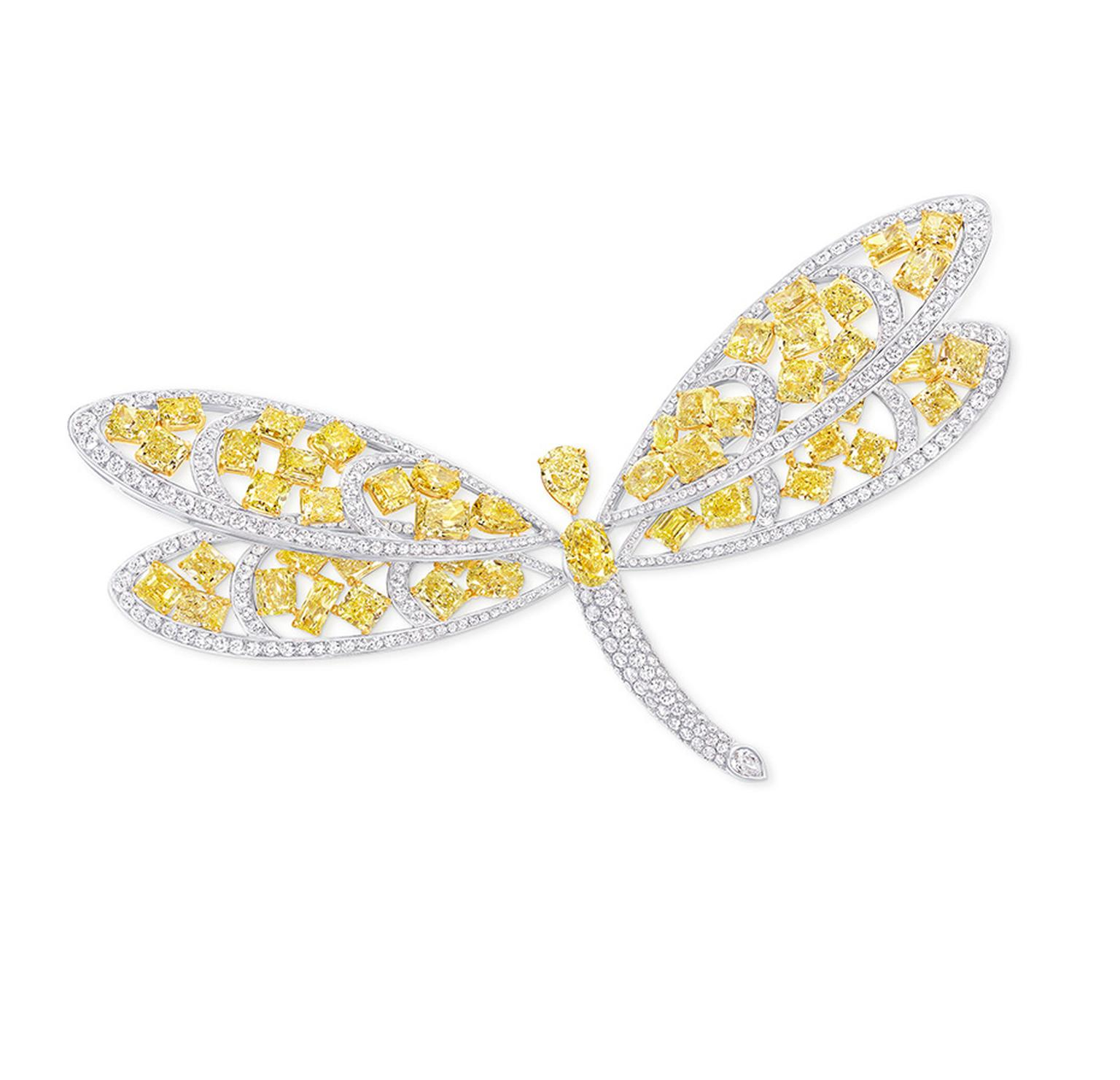 Graff white and yellow diamond butterfly brooch.