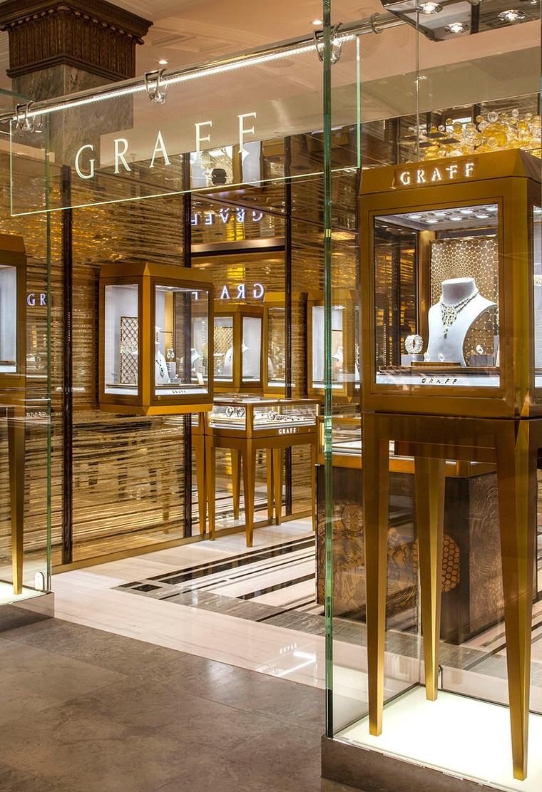The newest of its three London showrooms, the Graff boutique at Harrods was designed by Graff's in-house interior design team.