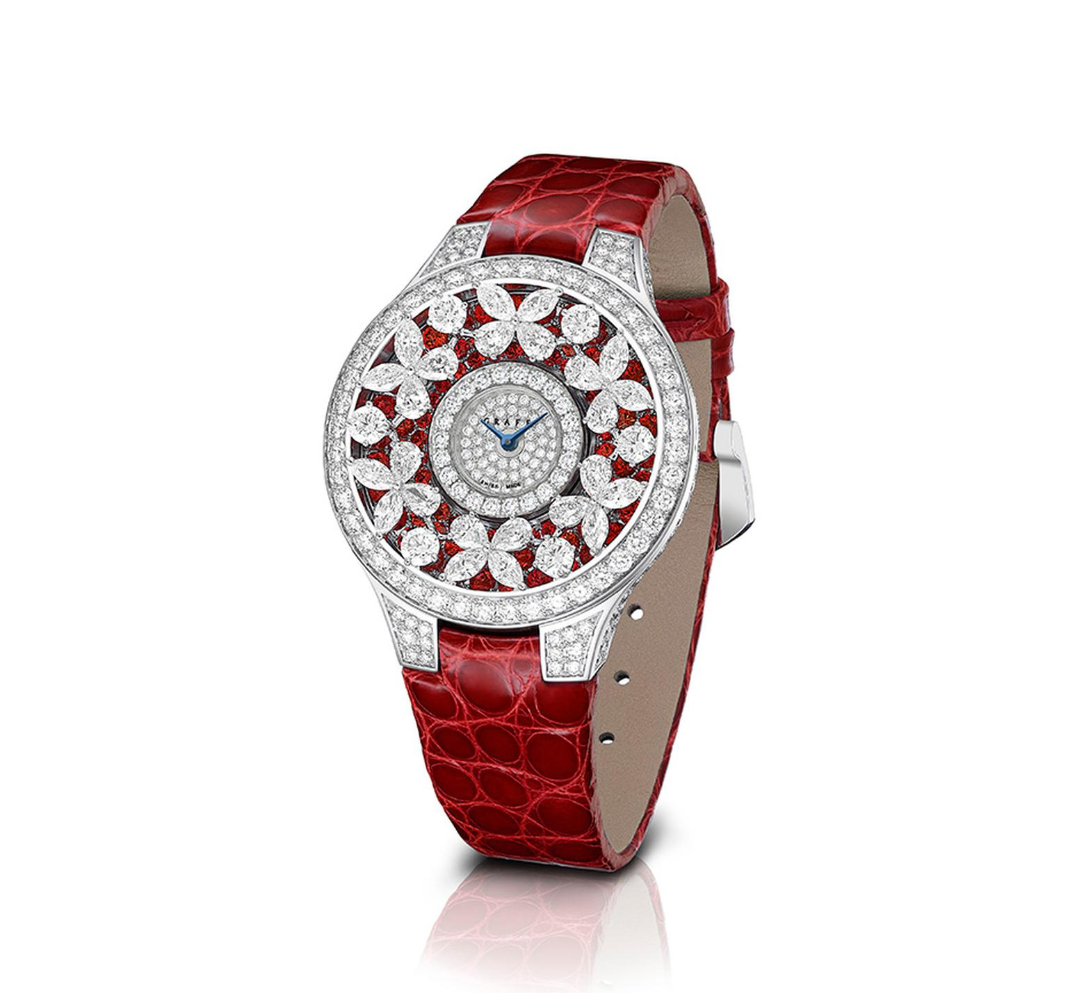 Graff Butterfly watch featuring diamonds and rubies.
