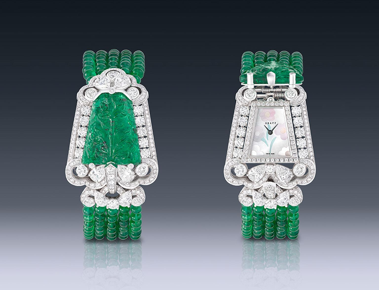 Graff carved emerald watch featuring diamonds.