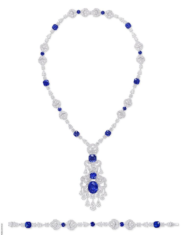 Graff's diamond and cushion-cut sapphire necklace containing 20 deep blue sapphires (57.78cts) set with 431 round and pear shaped diamonds.