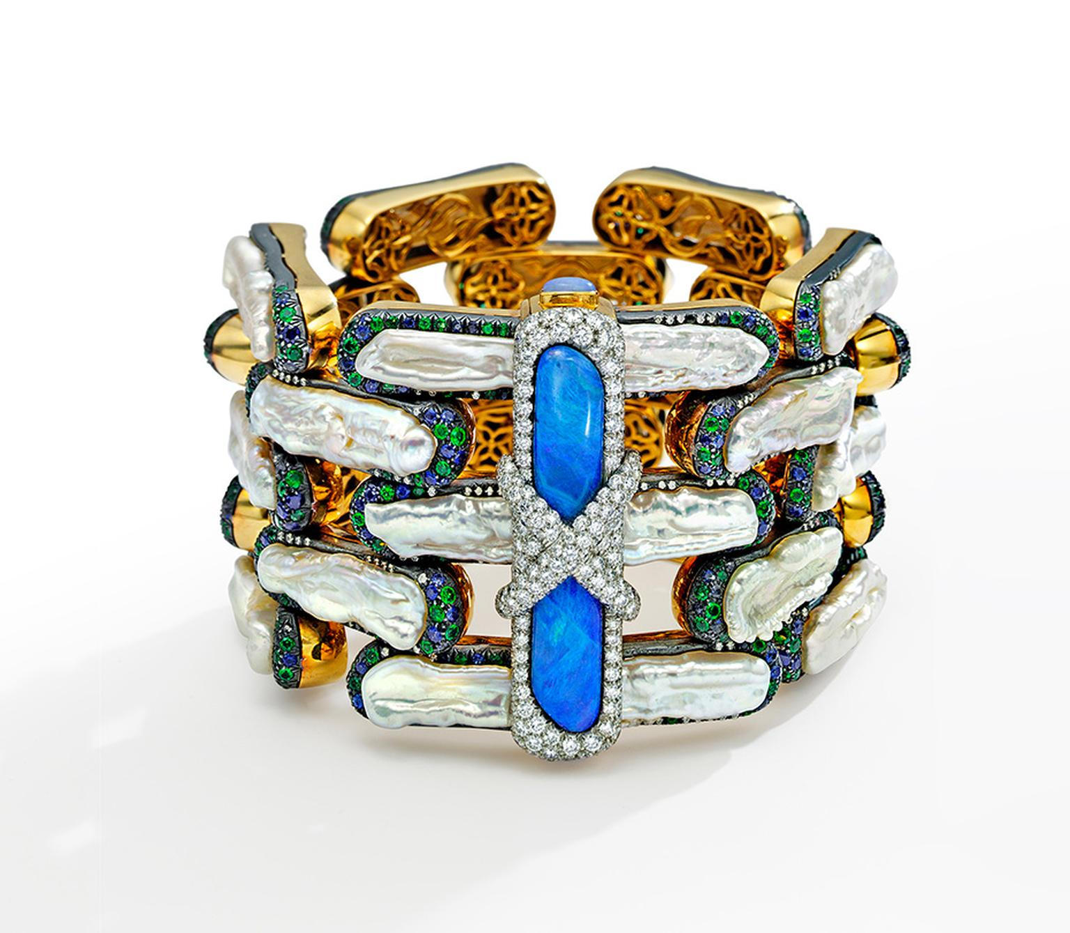 Nicholas Varney five row Brick bracelet featuring freshwater pearl, black opal, sapphire, emerald, diamond and gold.