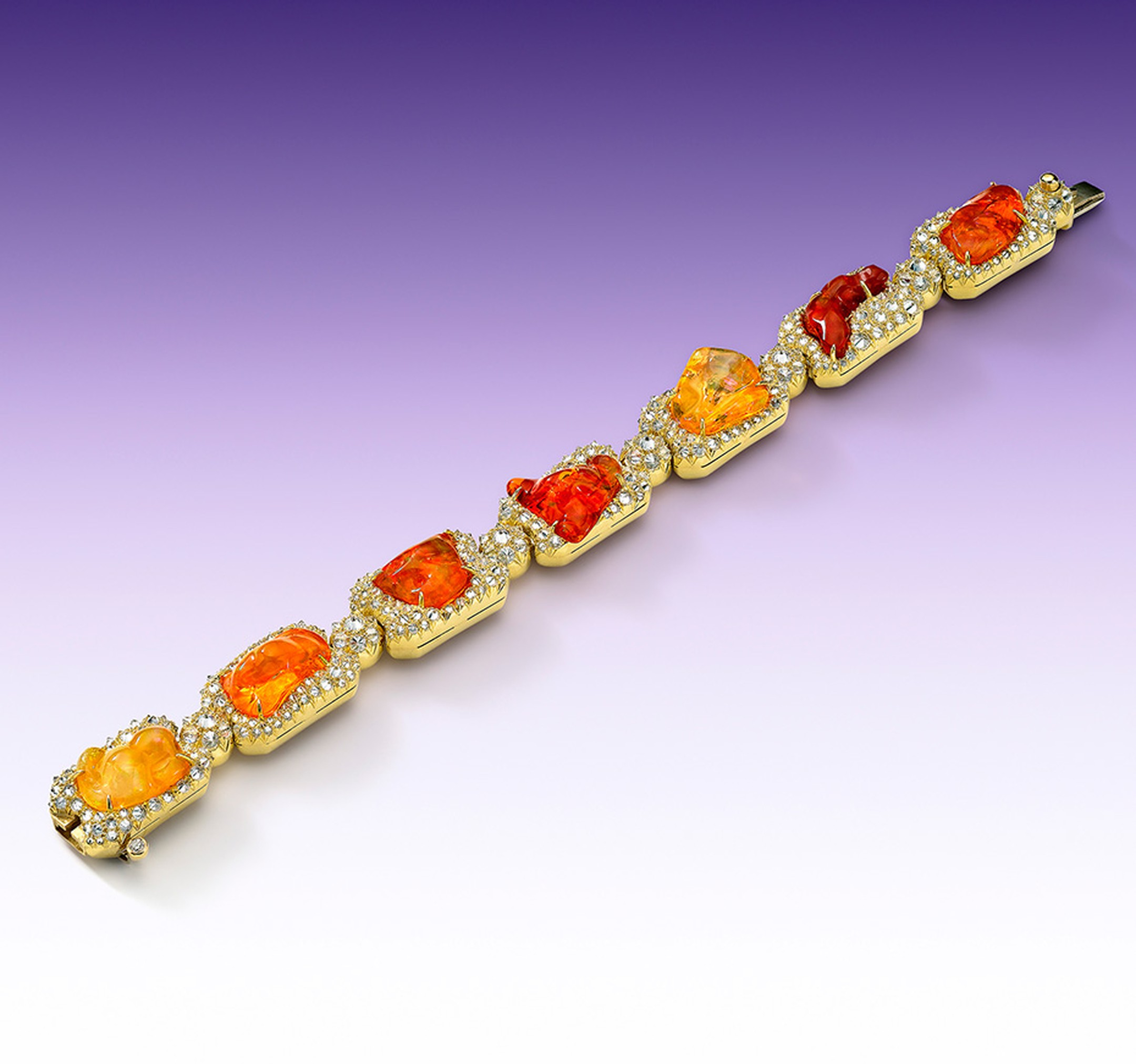 Nicholas Varney 2012 Upperline bracelet featuring fire opal, diamond and gold.