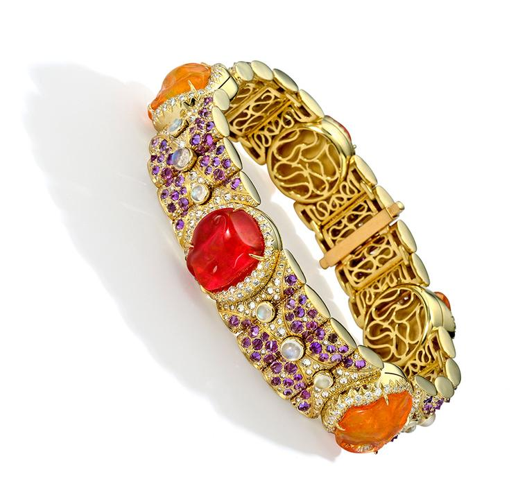 Nicholas Varney 2013 Knightsbridge bracelet featuring fire opal, diamond, purple sapphire, moonstone and gold.