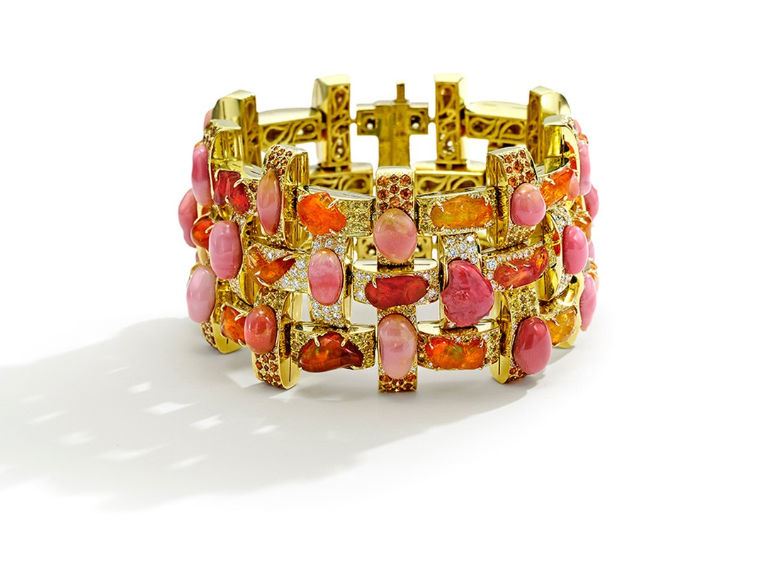 Nicholas Varney 2013 Boca Grande bracelet featuring natural pink conch pearl, fire opal, diamond, sapphire and gold.