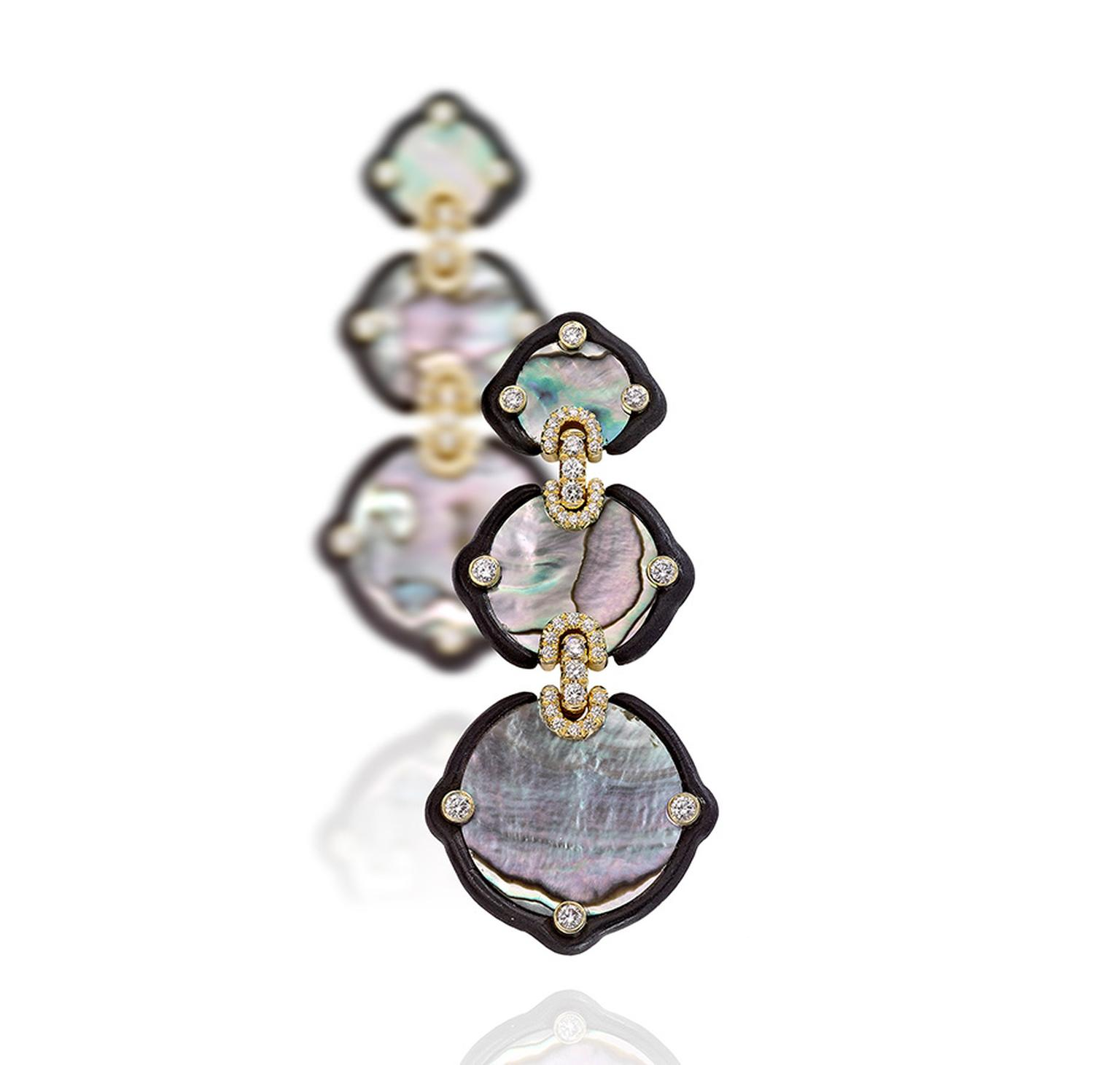 Nicholas Varney 2012 mother-of-pearl, ebony, diamond and gold earrings.