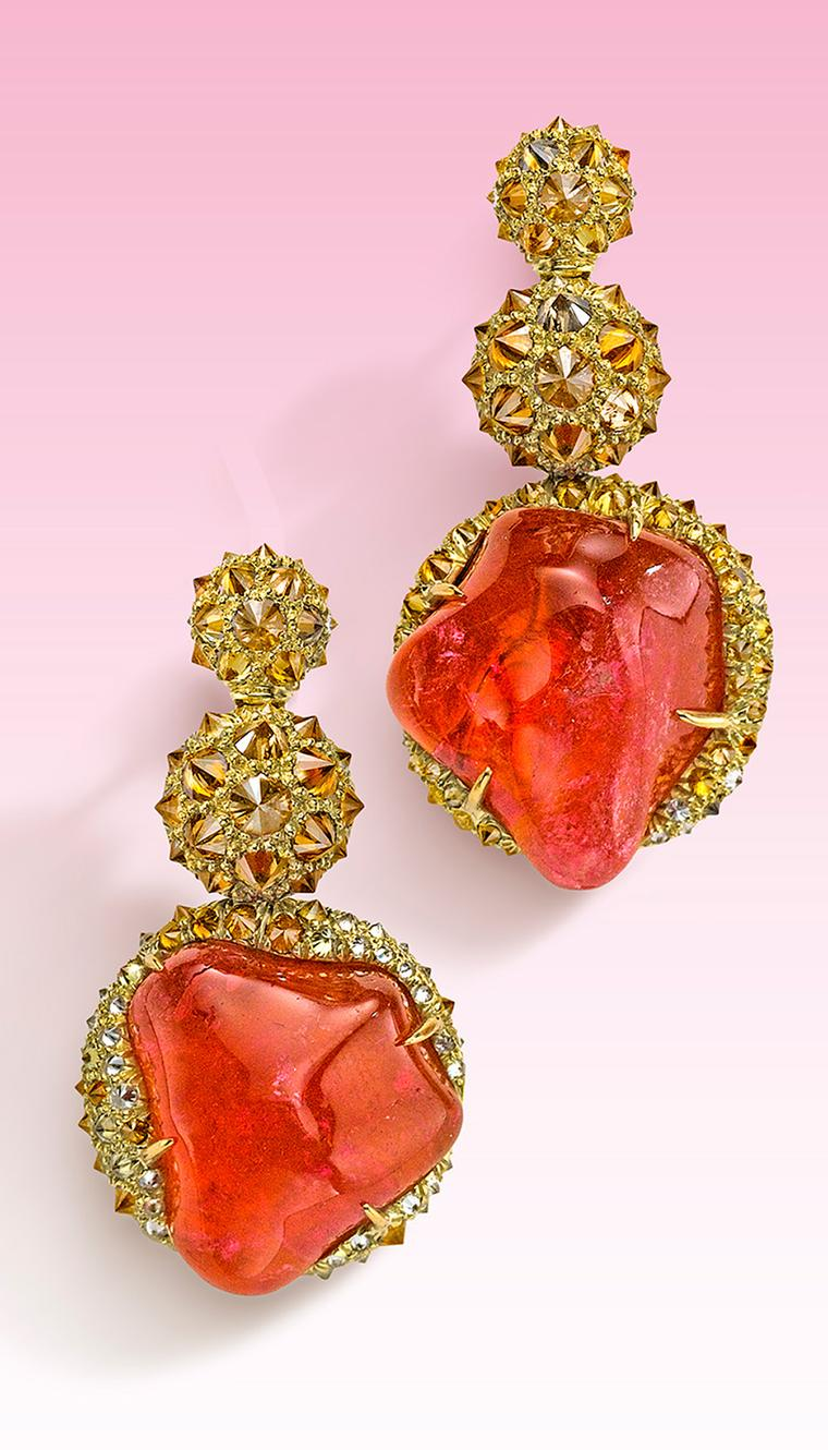 Nicholas Varney 2013 pink tourmaline earrings featuring cognac diamonds set in gold