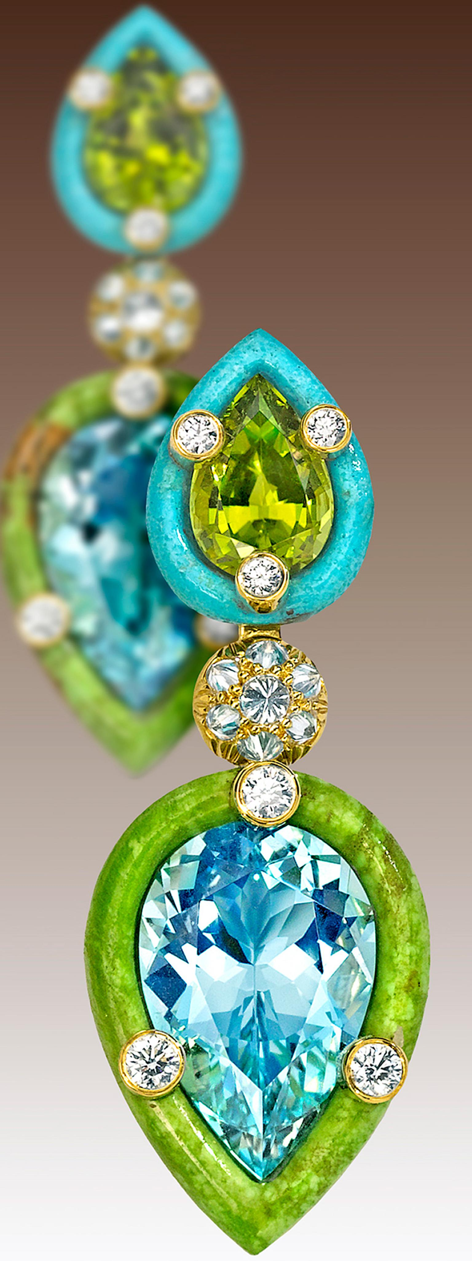 Nicholas Varney 2013 'Duo' Style earrings featuring two pear-shape aquamarines retained by hand-carved gaspeite and paired with two pear-shaped peridots retained by hand-carved turquoise and joined by yellow gold and diamonds.