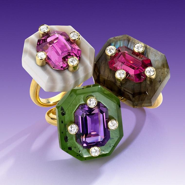 Nicholas Varney 2012 'Duo' gold rings featuring carved labradorite, pink tourmaline and diamond horizontal; carved nephrite jade, amethyst and diamond; and carved striped agate, California pink tourmaline and diamond.