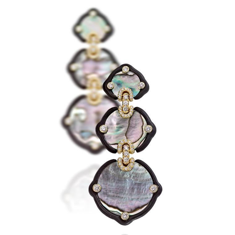 Nicholas Varney 2012 mother of pearl, ebony, diamond and gold earrings.