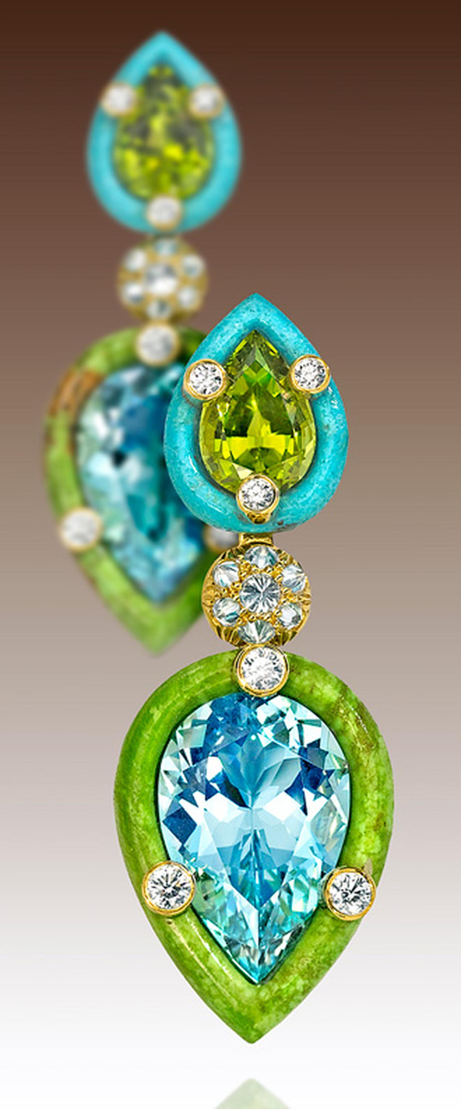 Nicholas Varney 2013 'Duo' earrings featuring two pear-shape aquamarines set into hand-carved gaspeite, paired with two pear-shaped peridots set into hand-carved turquoise and joined by yellow gold and diamonds