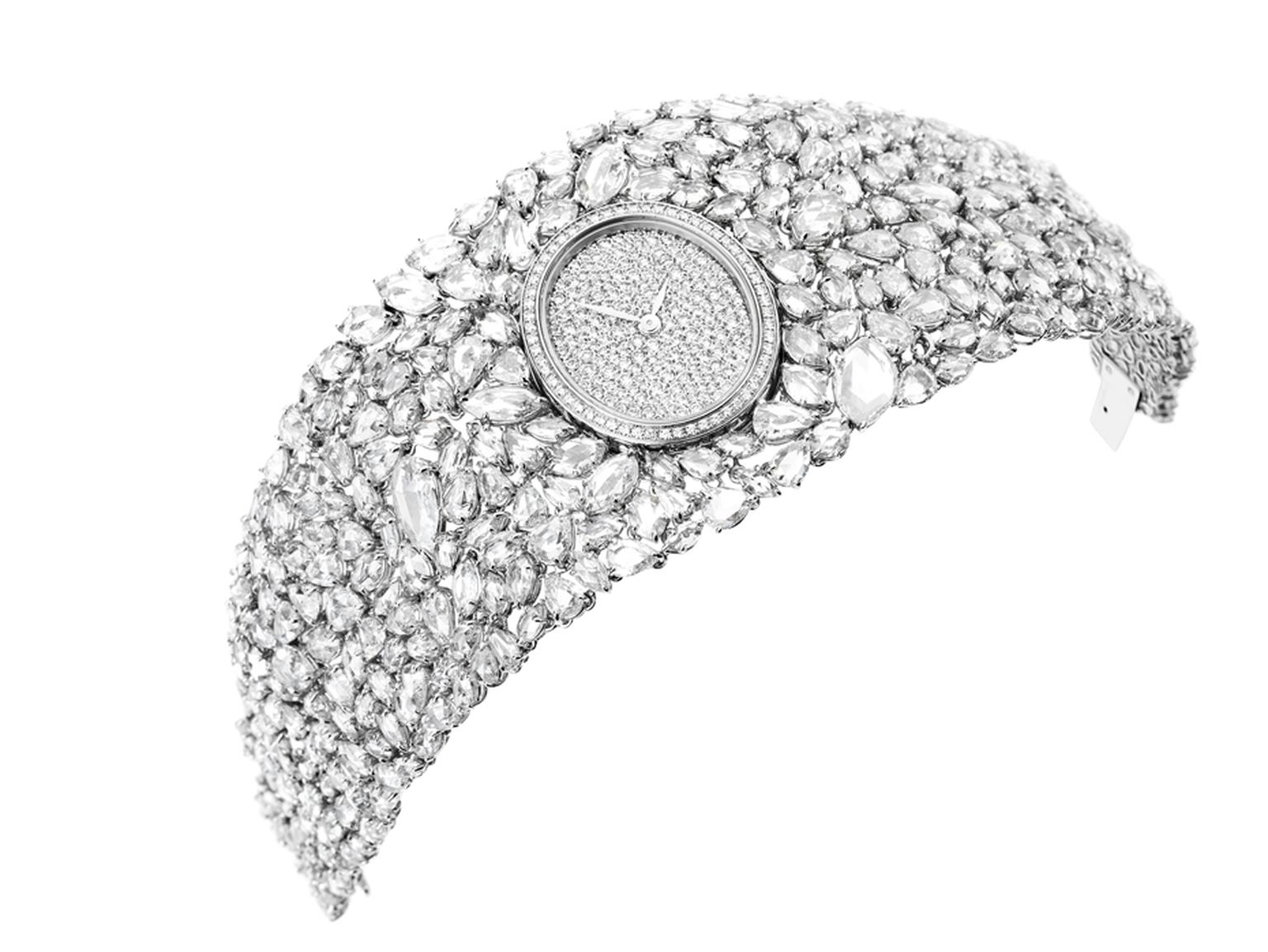 The white gold mesh into which the 352 rose-cut diamonds are set in DeLaneau's Grace Diamonds watch is kept to an absolute minimum