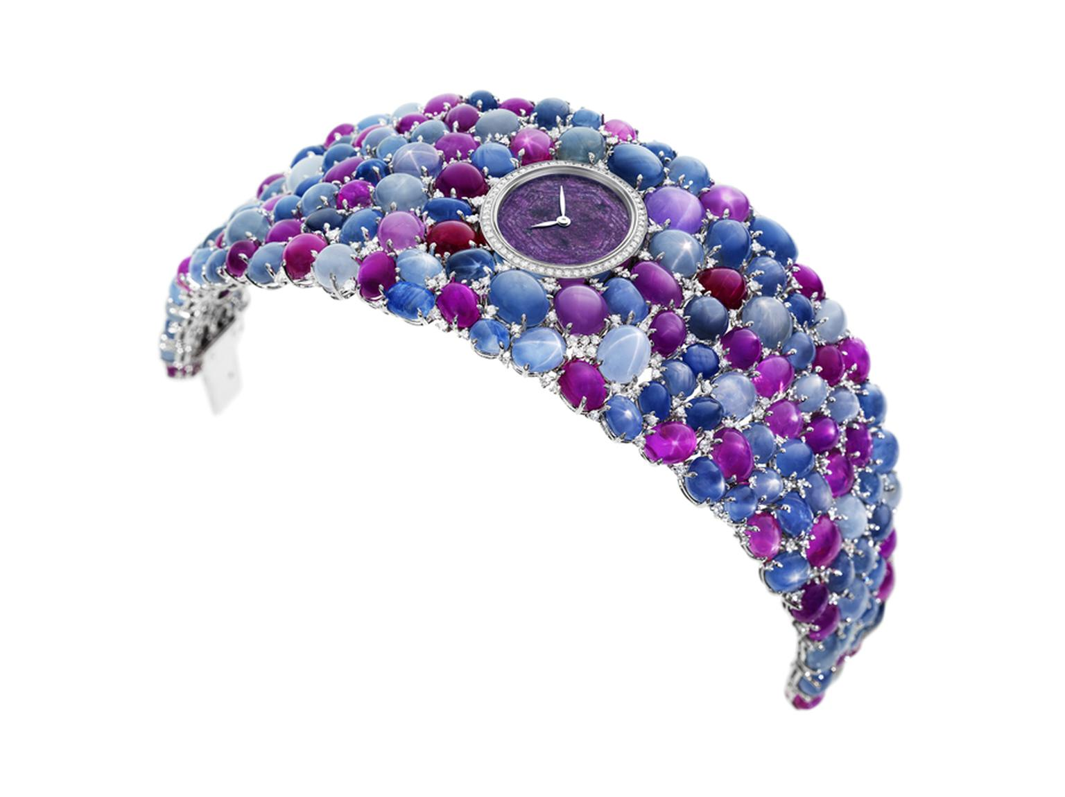 DeLaneau's Grace Stars jewellery watch is set with 118 star-cut rubies and sapphires as well as 276 diamonds