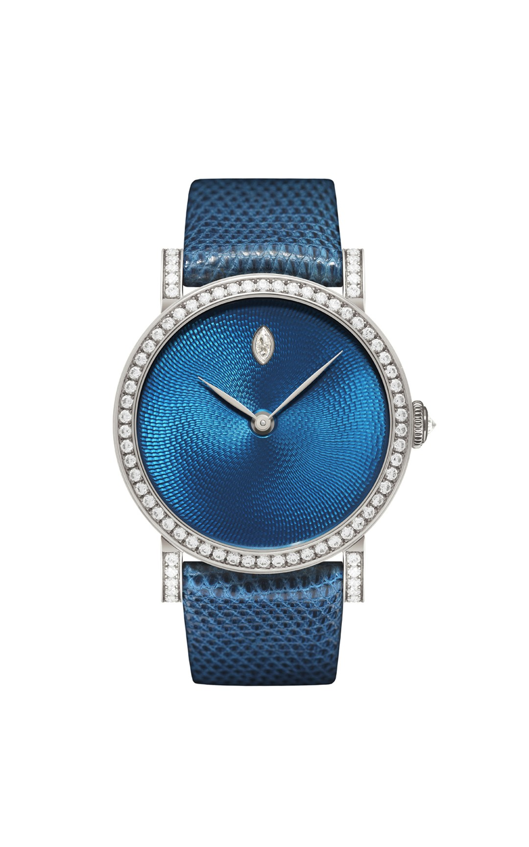 One-of-a-kind DeLaneau Rondo Transluscent Blue watch in white gold with Grand Feu enamel on a Rosette Guilloché dial, set with diamonds on the bezel, crown and buckle.