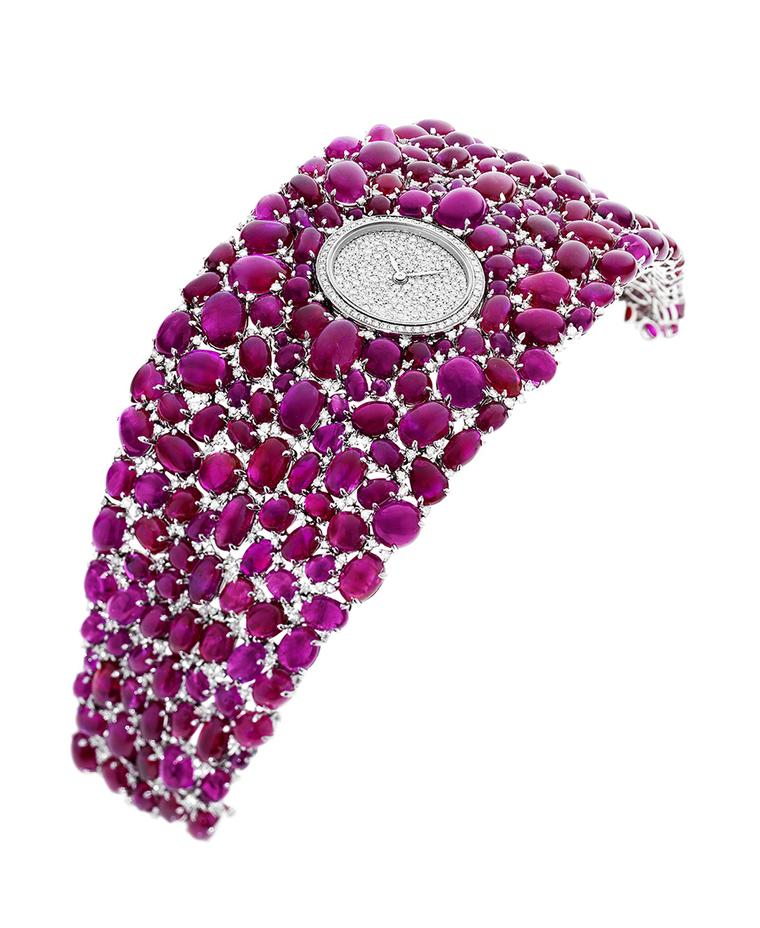 The cabochon-cut rubies on DeLaneau's Grace Ruby jewellery watch total 222.28ct