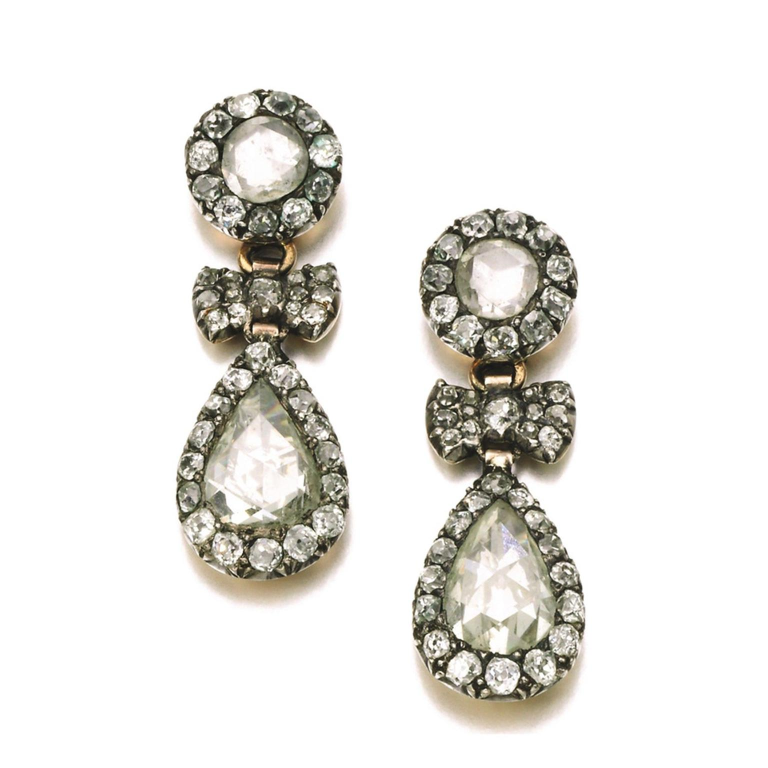 These late 18th century diamond pendant earrings sold for £41,250 at Sotheby's London in 2014.
