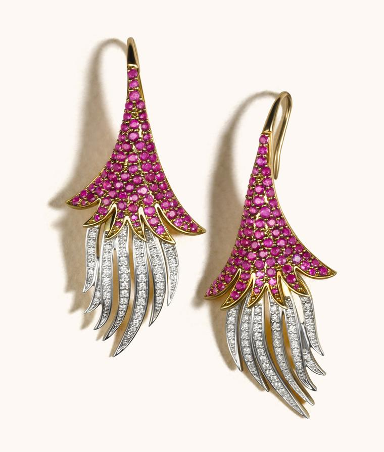 Zoya Espan~a collection gold, ruby and diamond earrings