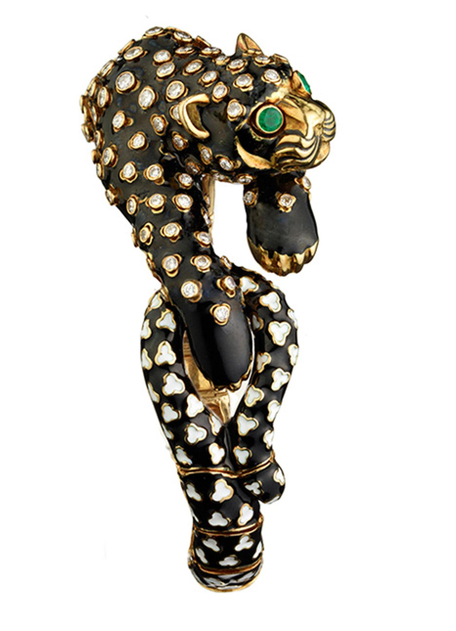 David Webb gold and black enamel Leopard bracelet with cabochon emeralds and diamonds