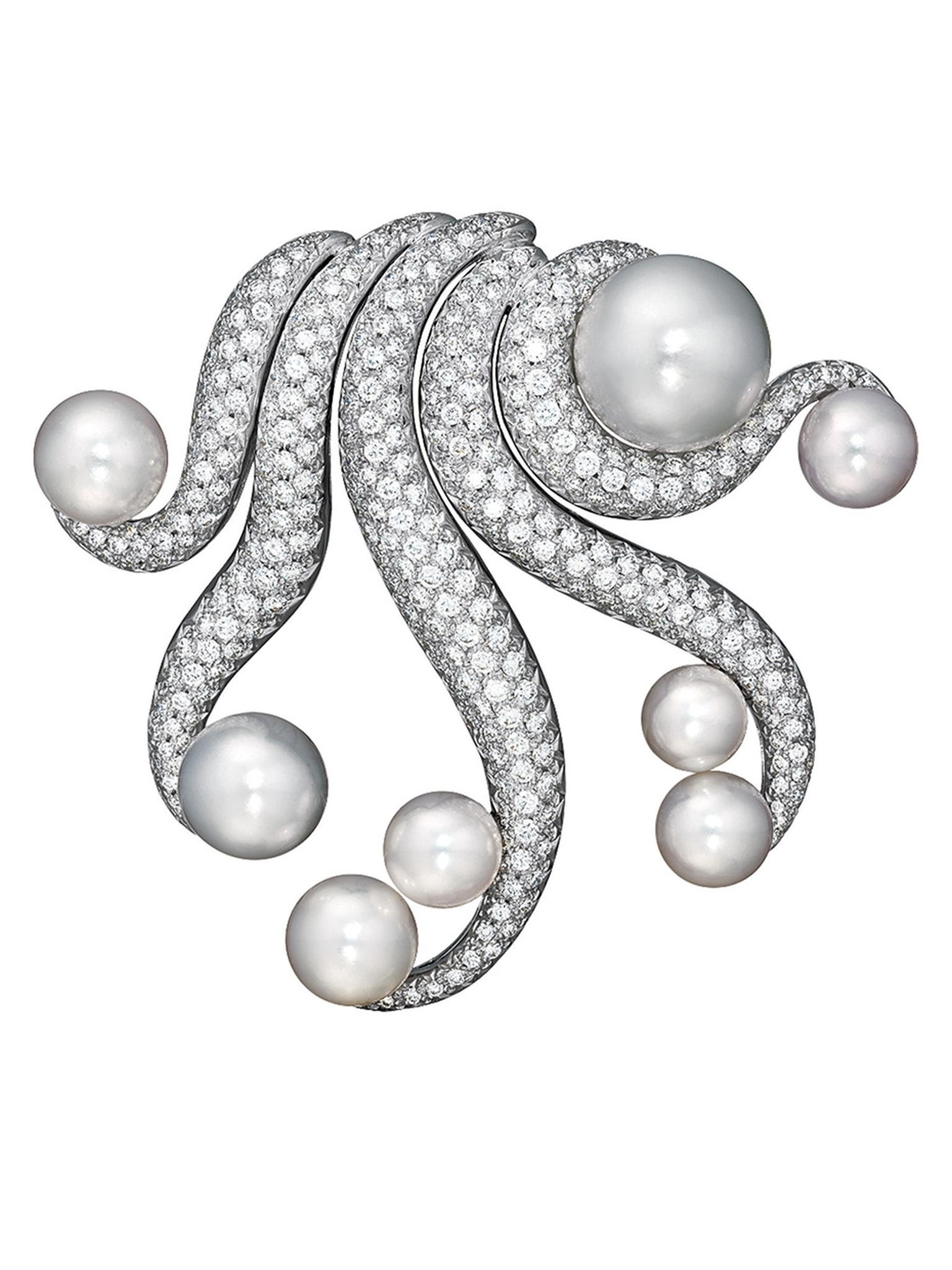 Verdura white gold Octopus brooch with South Sea cultured pearls, Tahitian cultured pearls and diamonds.