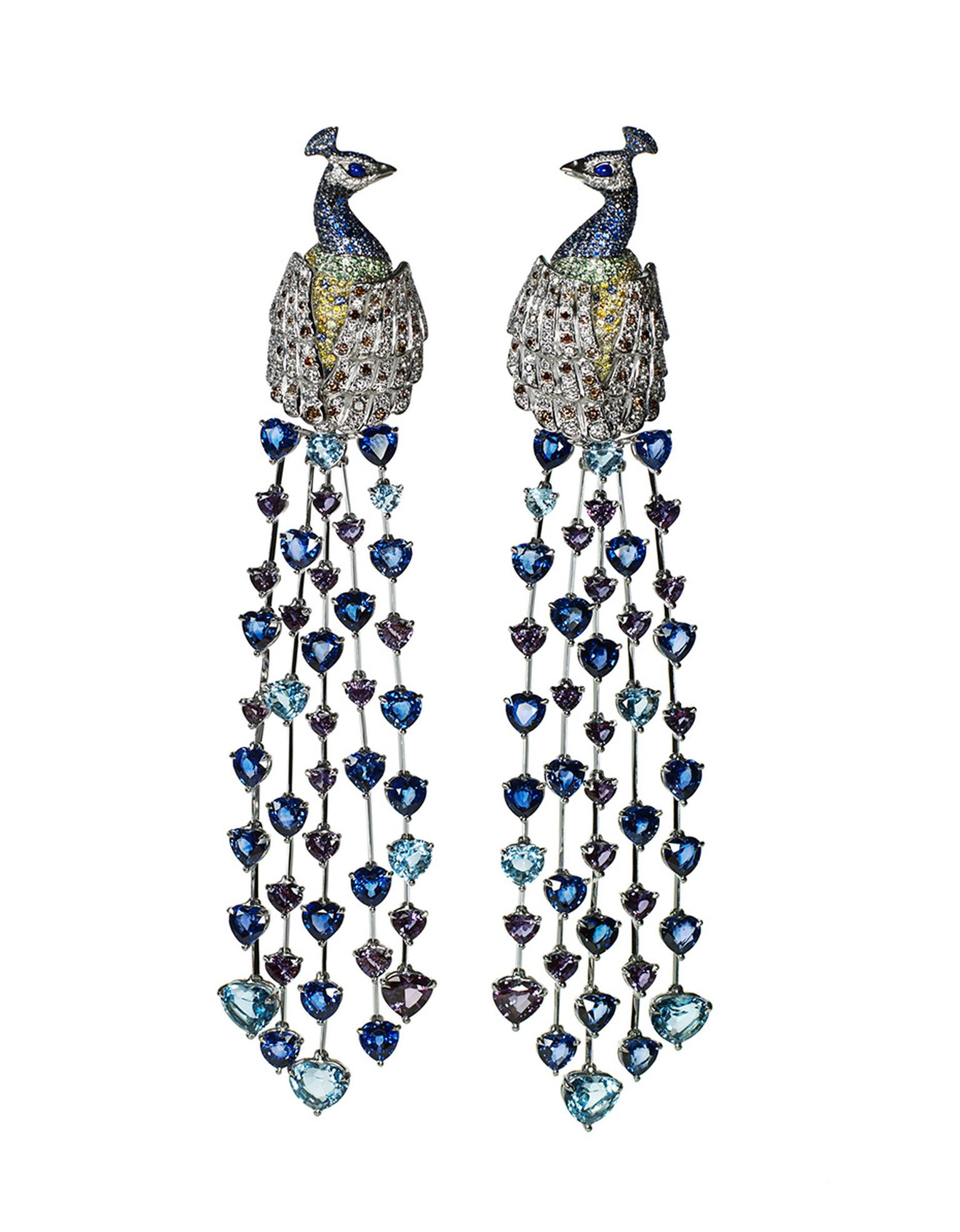 Chopard Animal World An Immortal Peacock earrings featuring heart-shaped sapphire and alexandrite tail feathers