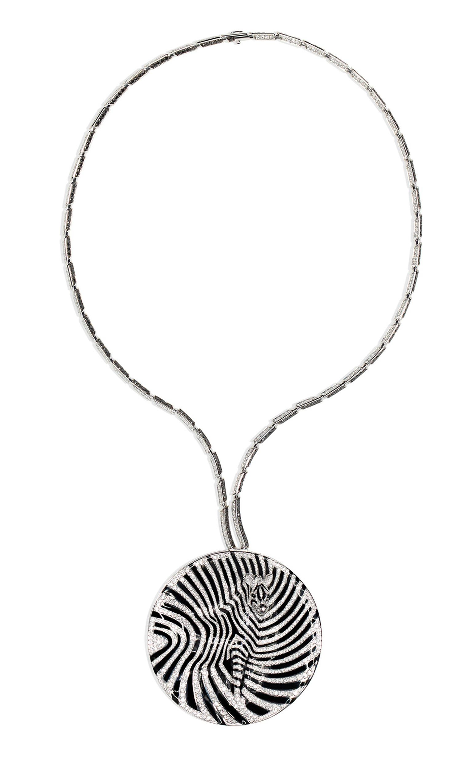 Chopard Animal World Zebra necklace with white and black diamonds