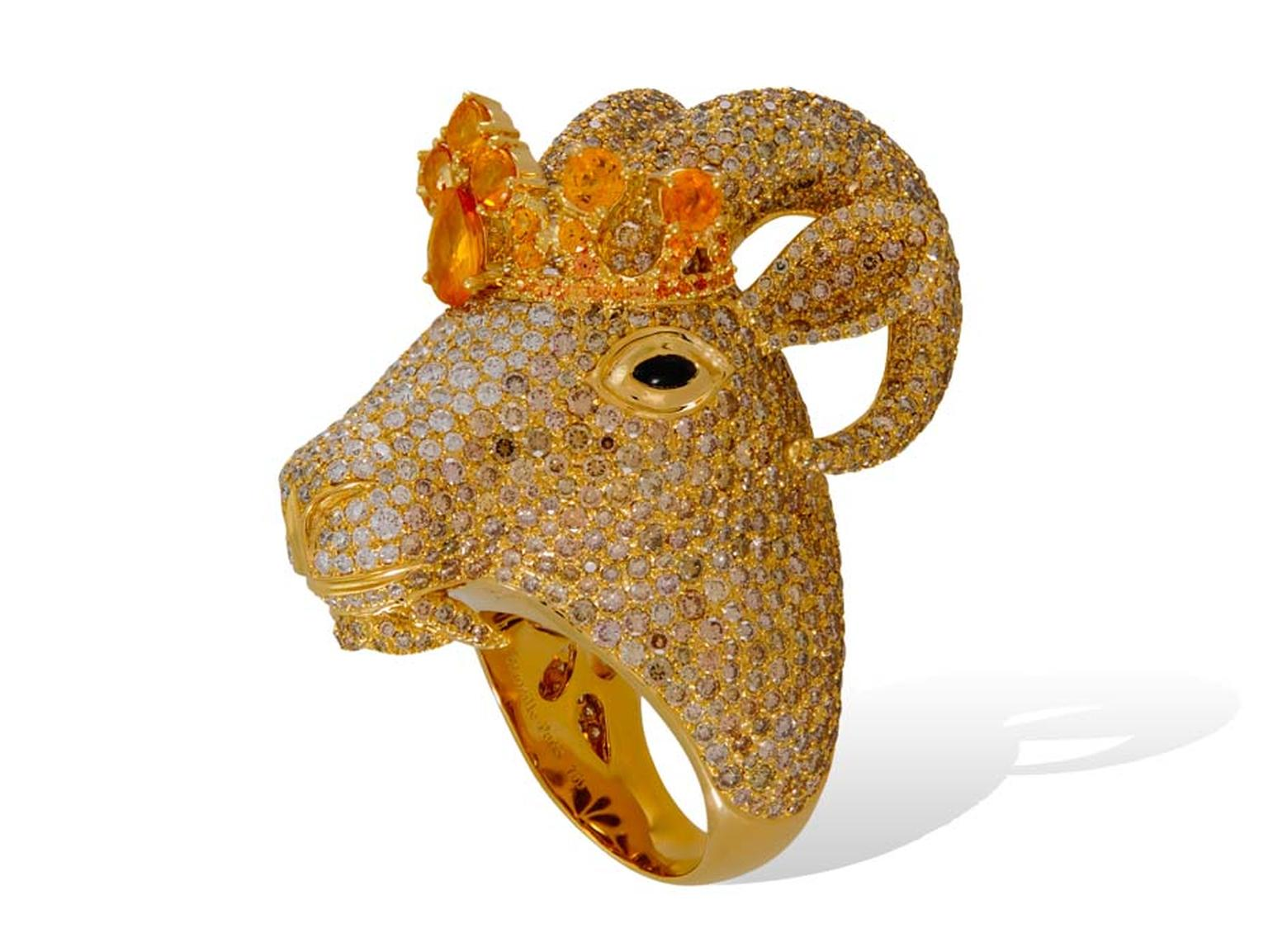 Lydia Courteille Goat ring in yellow gold from the Animal Farm collection, set with diamonds and sapphires