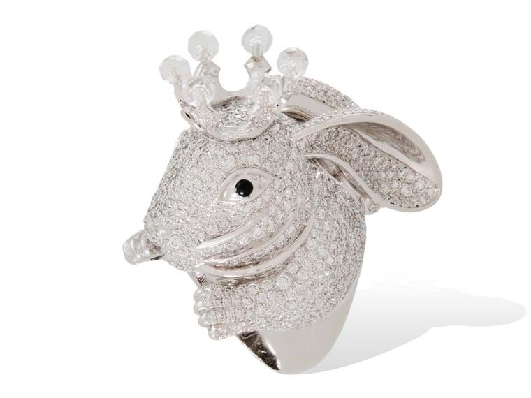 Lydia Courteille Rabbit ring in white gold from the Animal Farm collection, set with white diamonds and rock crystal