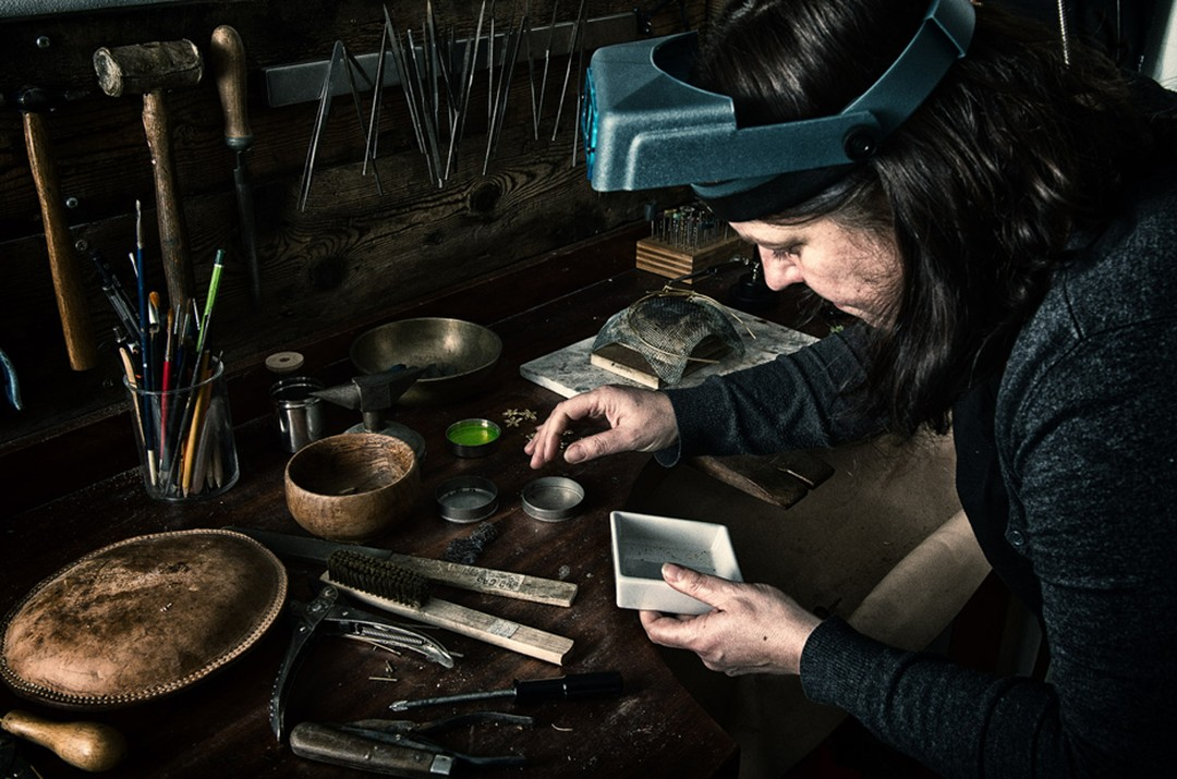 Goldsmith and artisan jeweller Jo Thorne in her workshop