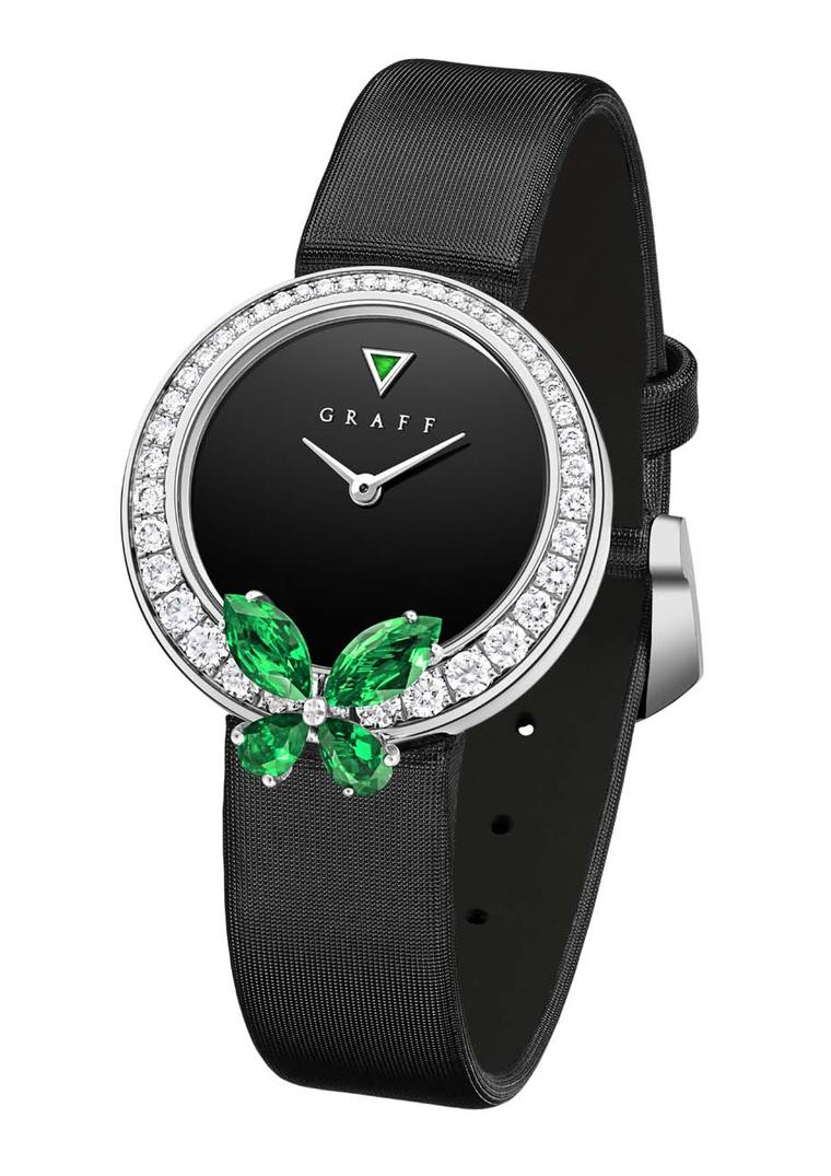Graff's Classic Butterfly watch sees an emerald butterfly perched atop a diamond-set bezel