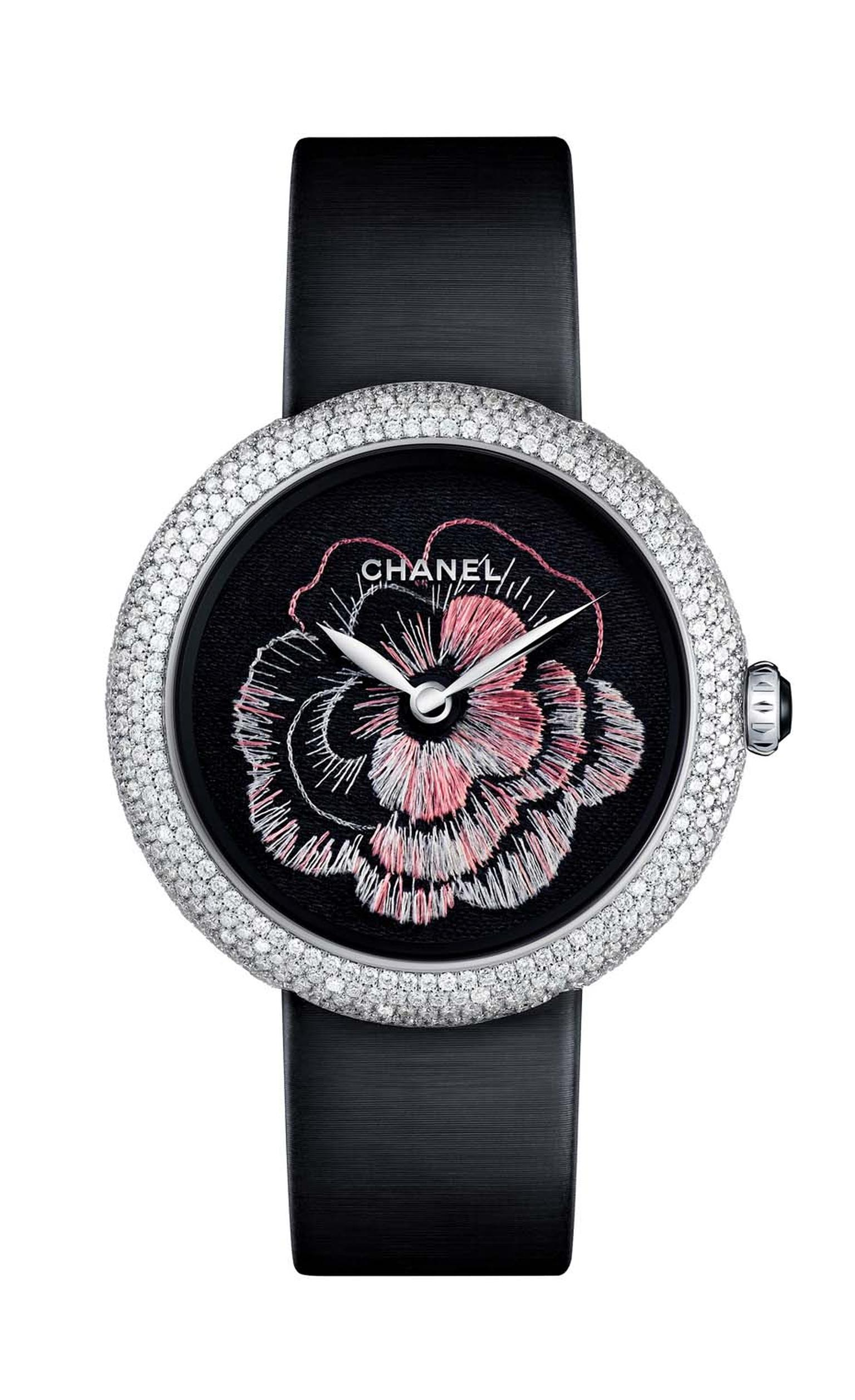 Chanel Mademoiselle Privé Camélia Brodé watch with a hand-embroidered dial.